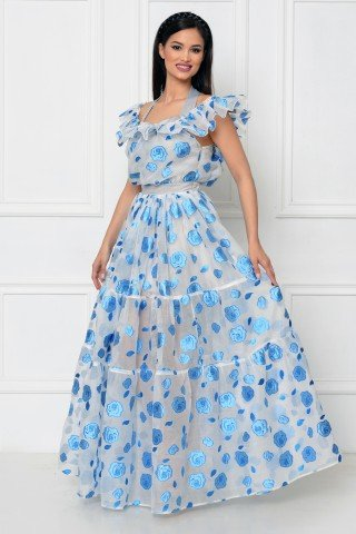 Rochie lunga organza cu flori albastre