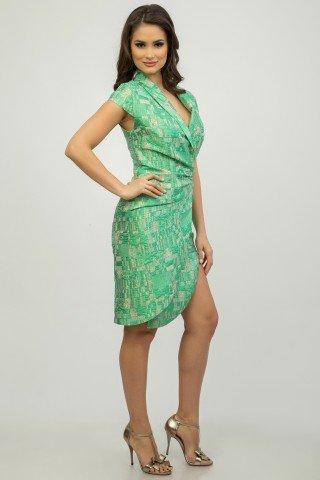 Rochie eleganta verde cu crapatura pe picior