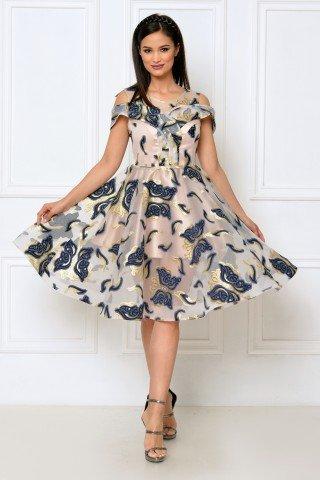 Rochie de ocazie midi din organza brodata