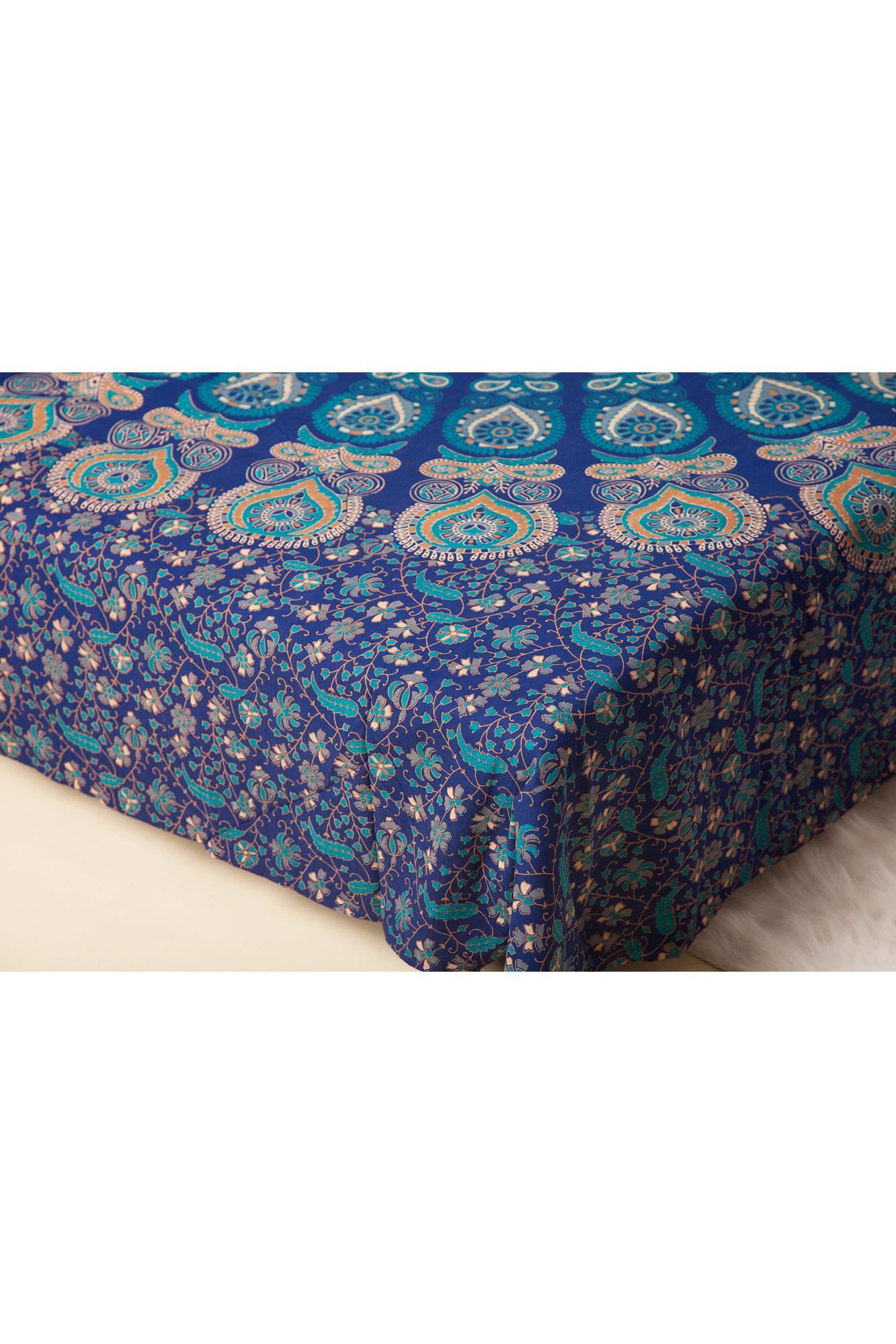 Cuvertura bleumarin dubla cu imprimeu mandala