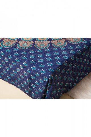 Cuvertura bleumarin mandala-dubla