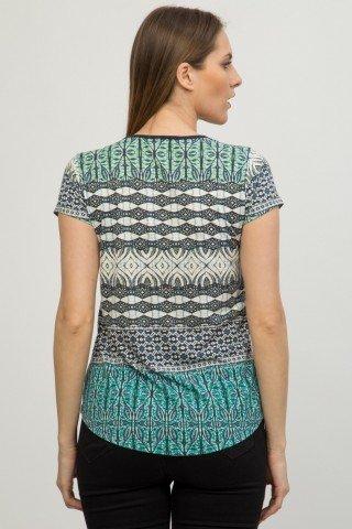 Bluza alba cu imprimeu geometric si broderie