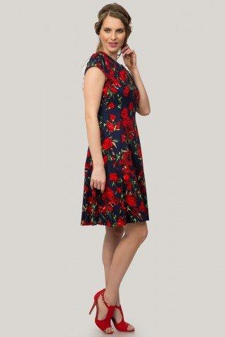 Rochie bleumarin cu pliuri, imprimeu floral si anchior