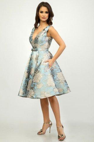 Rochie de ocazie midi stil vintage bleu