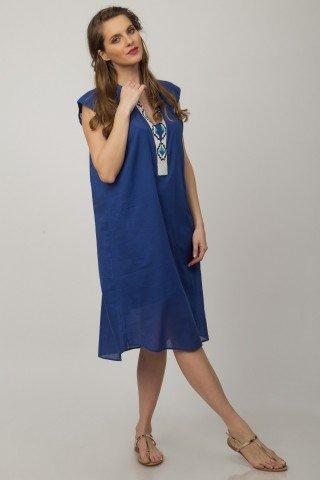 Rochie albastra Aris cu margele