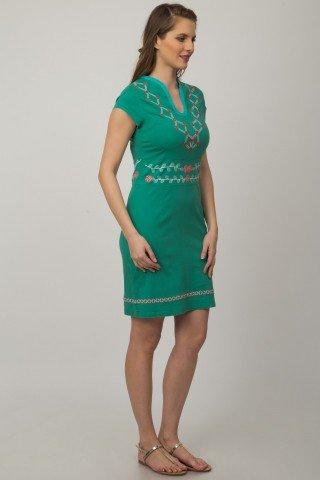 Rochie verde Alima cu broderie