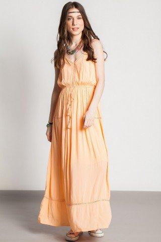 Rochie lunga casual Crina peach cu ciucuri