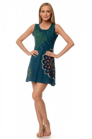 Rochie bumbac verde Eva imprimata