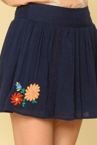 Fusta scurta bleumarin Mara cu broderie florala