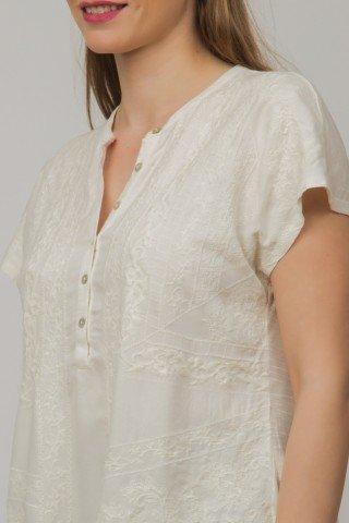 Bluza beige Ania cu maneca scurta