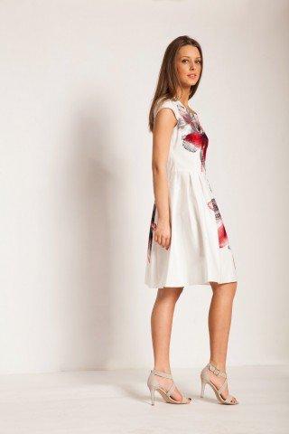 Rochie alba cu imprimeu floral rosu si pliuri