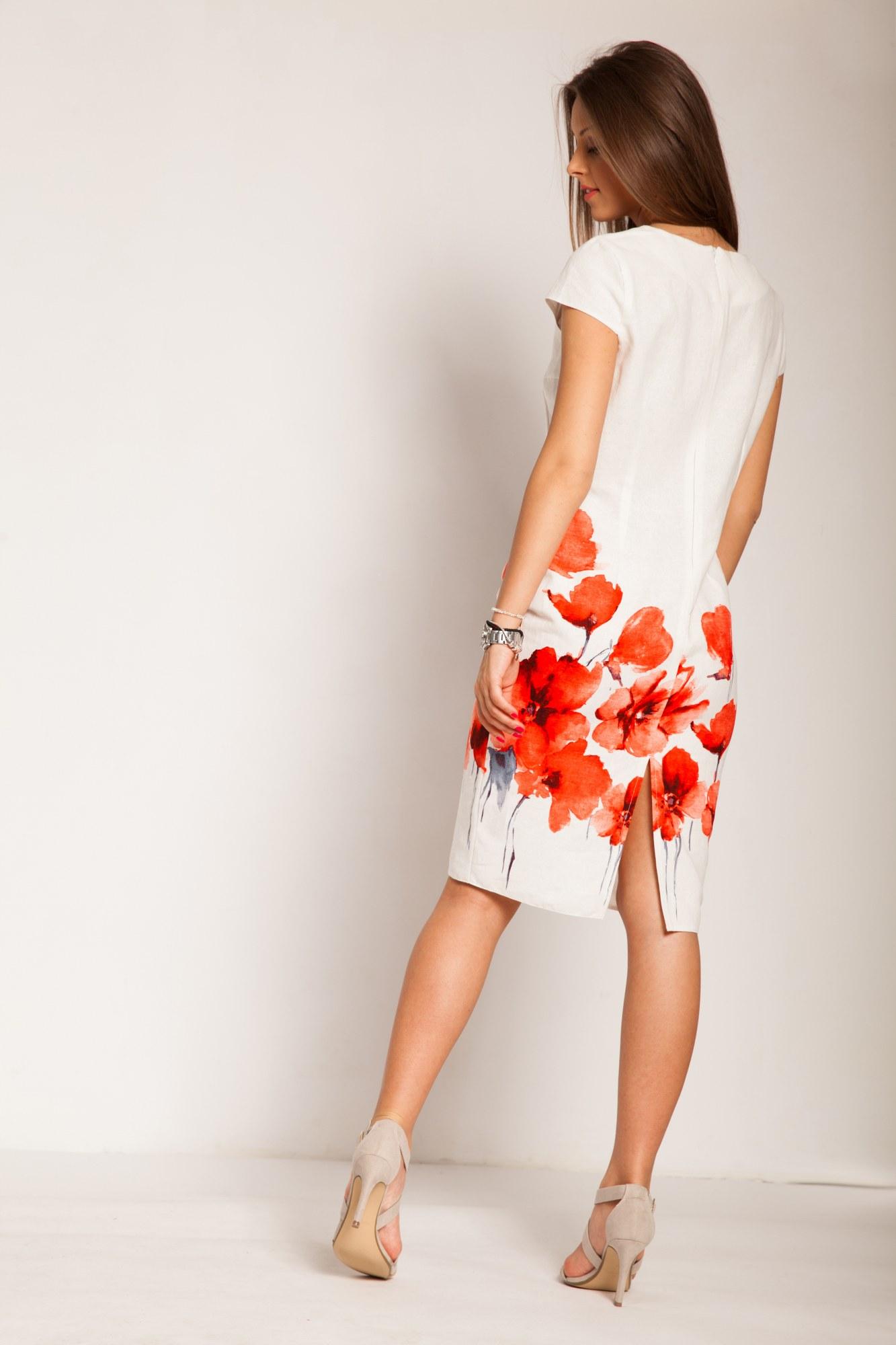 Rochie alba din in cu imprimeu floral