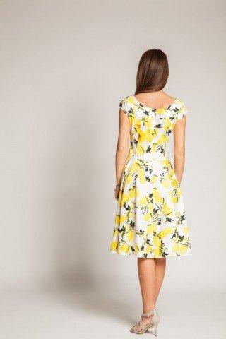 Rochie alba cu imprimeu galben si clini