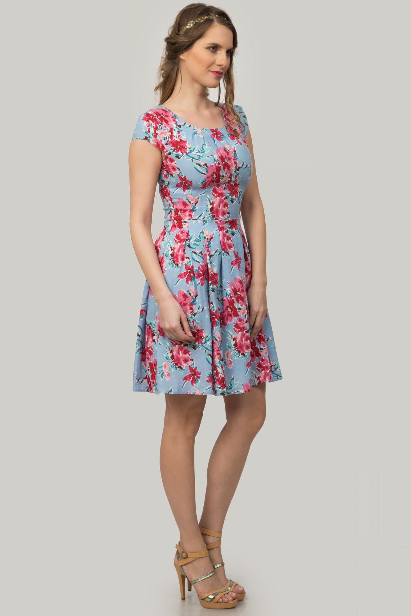 Rochie bleu din in cu pliuri si imprimeu floral
