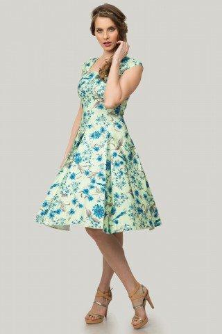 Rochie verde cu pliuri si imprimeu floral albastru