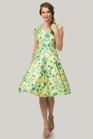 Rochie galbena cu pliuri si imprimeu floral verde
