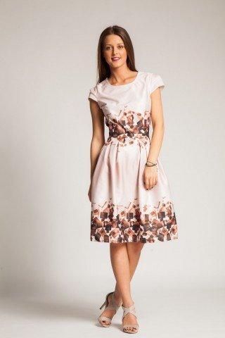 Rochie roz prafuit cu pliuri si imprimeu maro