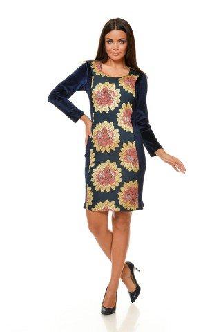 Rochie de seara catifea cu motive florale