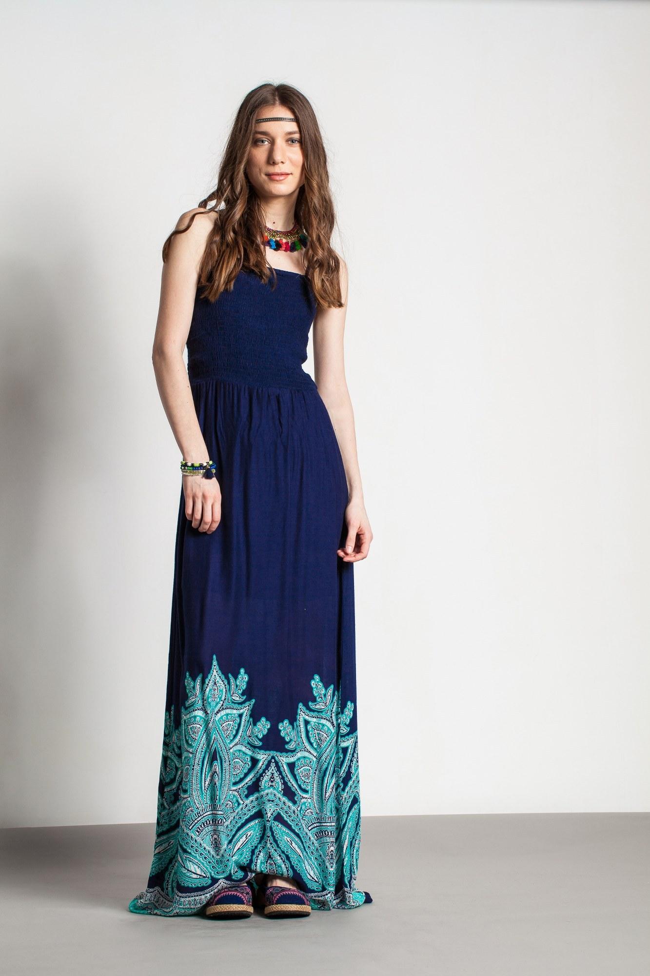 Rochie bleumarin lunga din vascoza cu imprimeu turcoaz