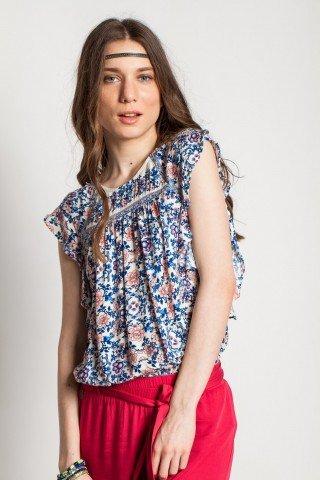 Bluza alba din vascoza Aurora cu imprimeu floral