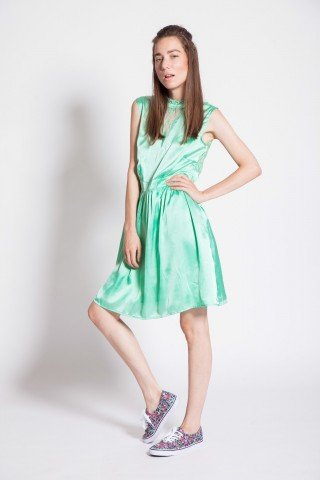 Rochie verde fistic Monaco cu dantela