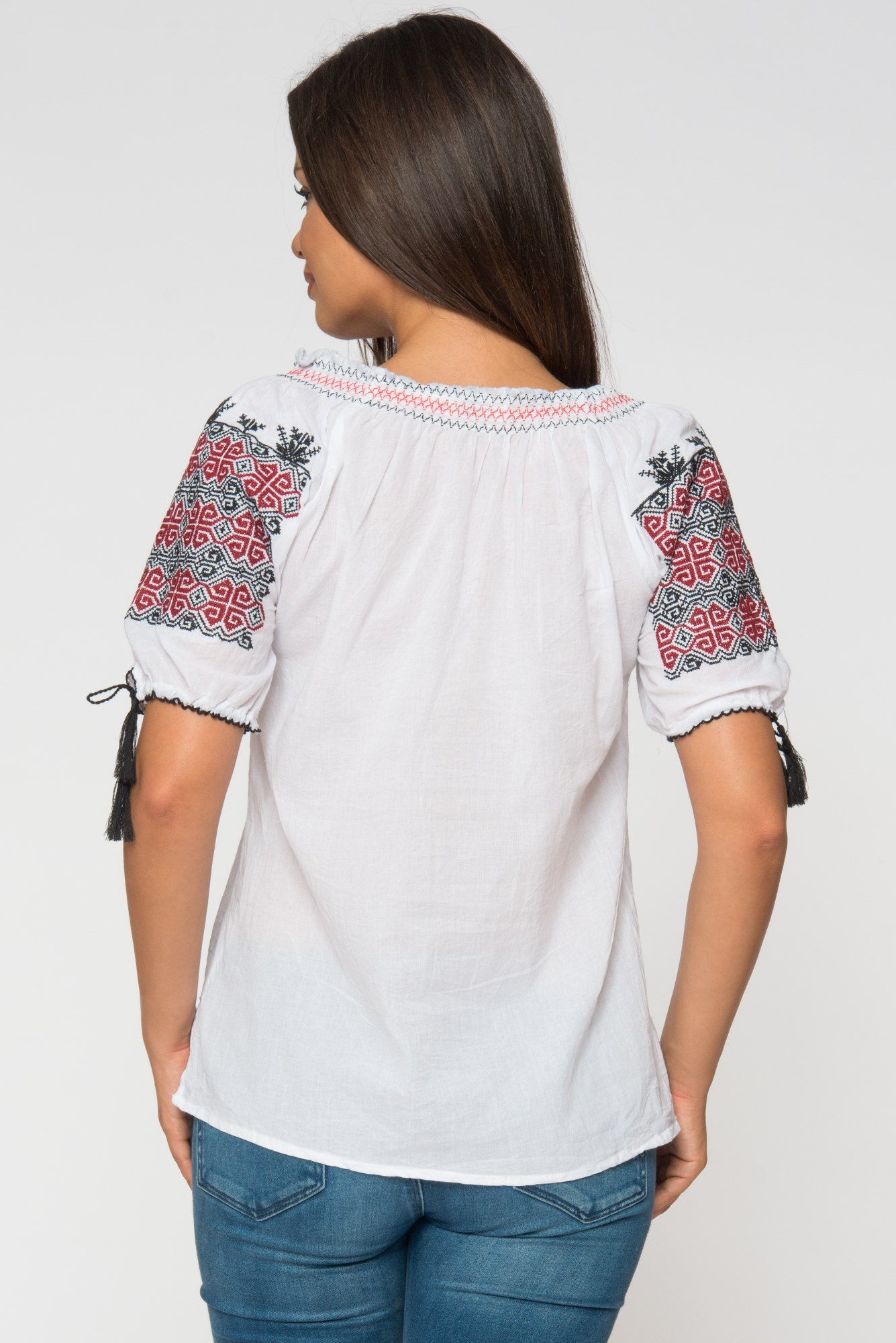Bluza alba tip iie Arabelle cu broderie rosu-negru