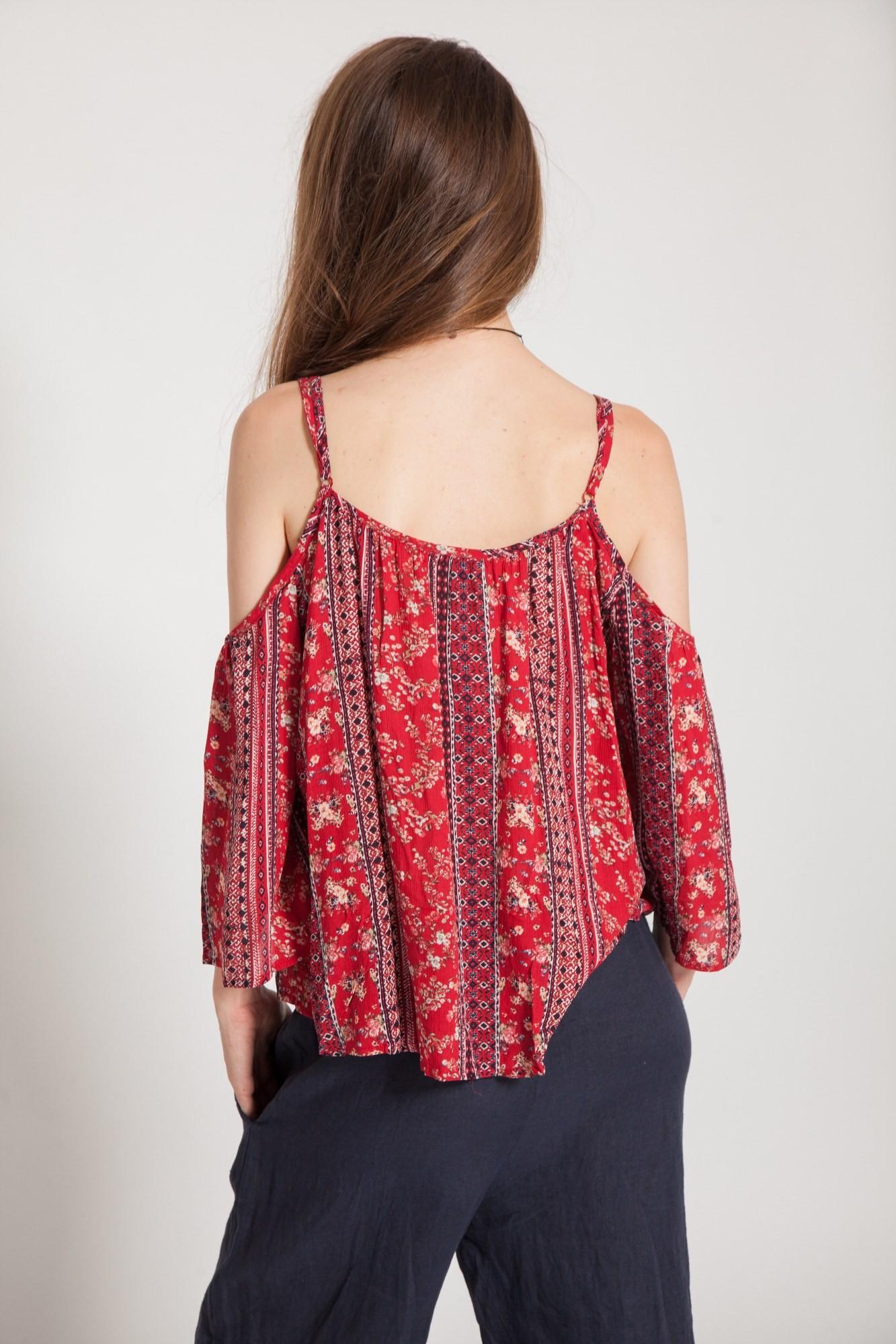 Bluza rosie Ronda cu decupaje umeri si imprimeu