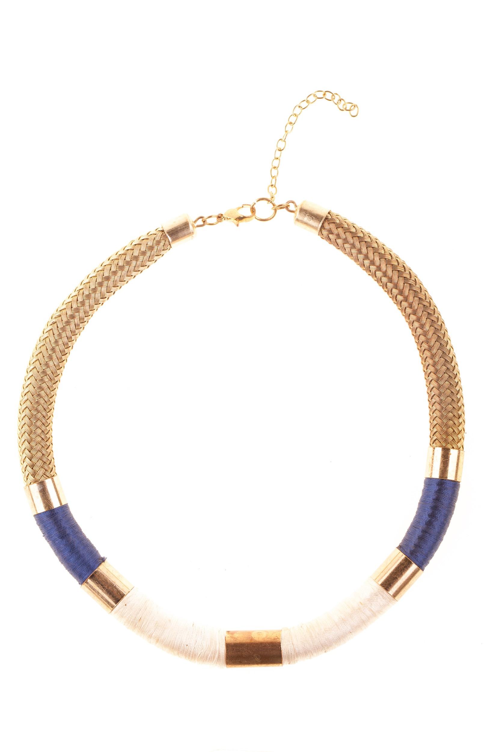 Colier auriu-albastru