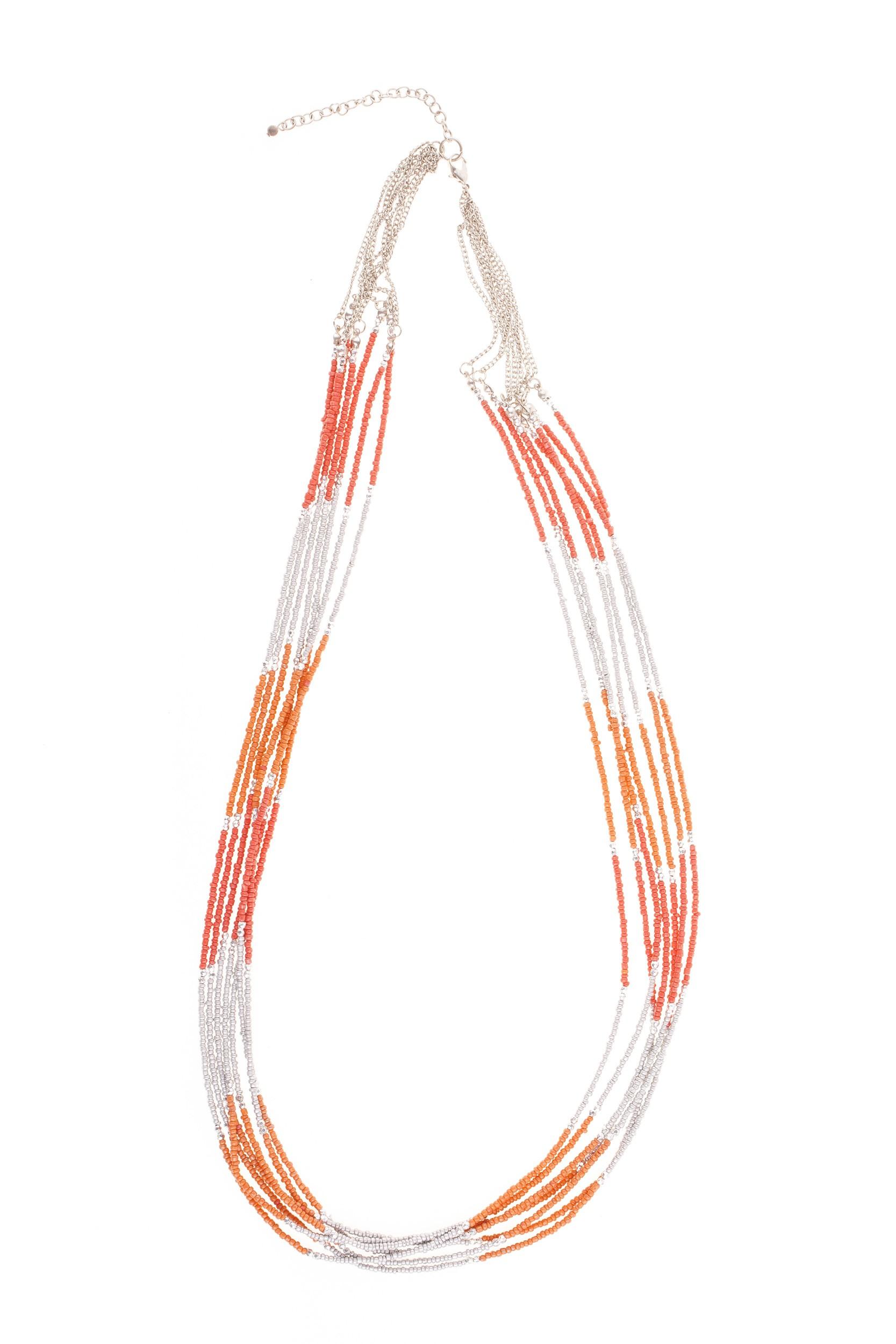 Colier argintiu-portocaliu Sara
