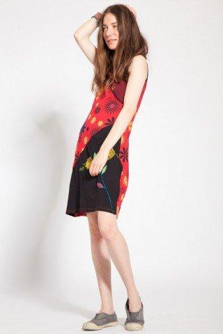 Rochie negru-rosu Maya cu imprimeu