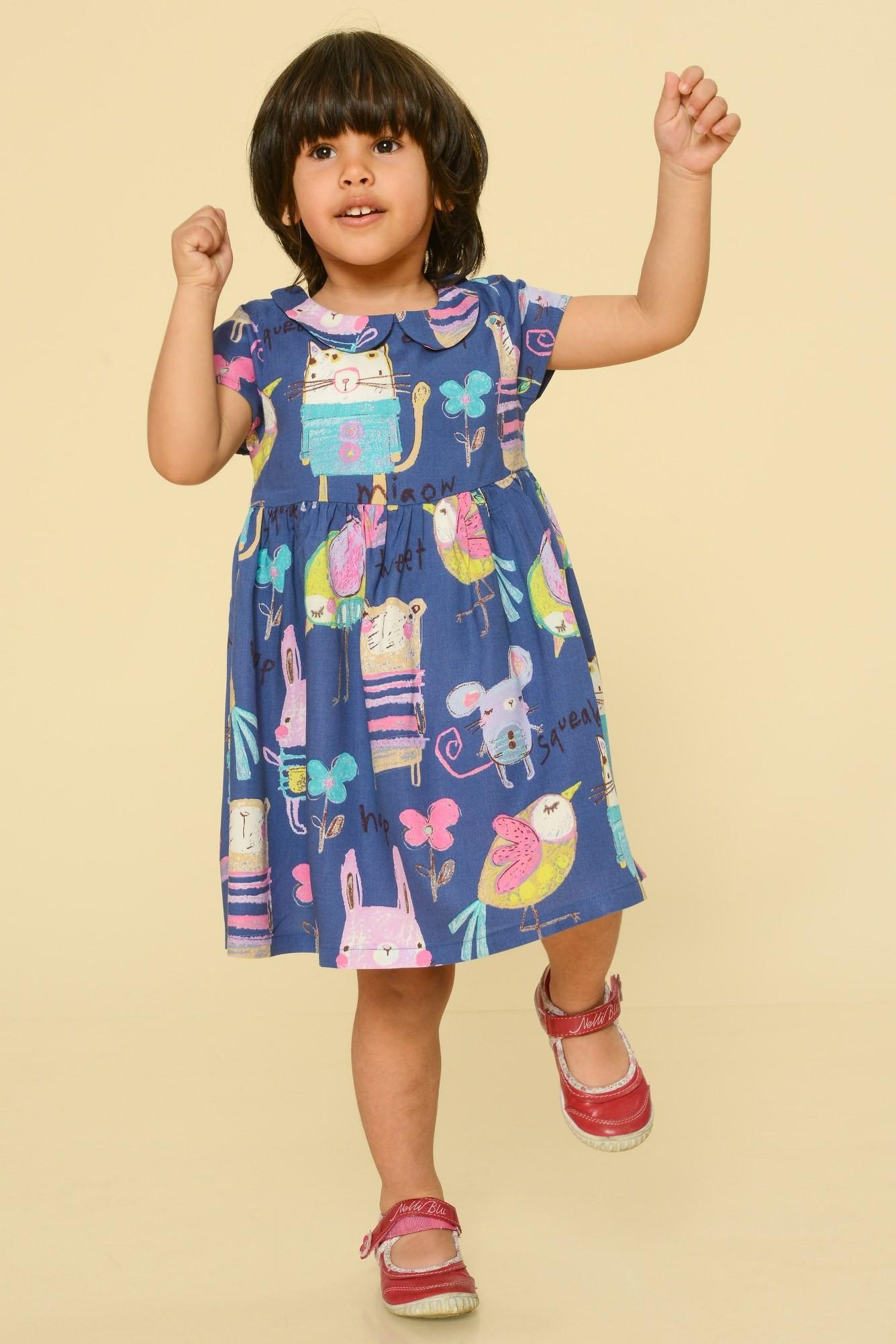 Rochie albastru denim copii cu imprimeu