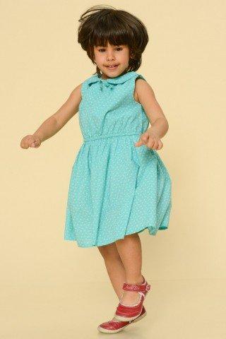 Rochie bleu copii cu imprimeu alb