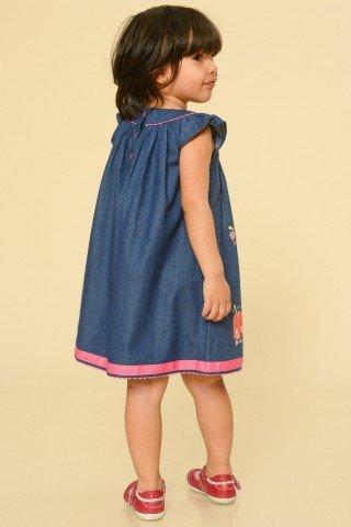 Rochie copii albastru denim cu aplicatii