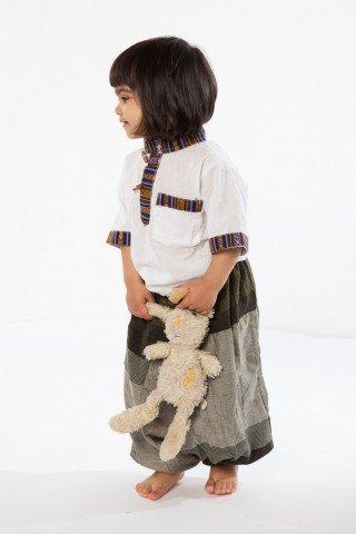 Camasa alb copii cu insertii etnice