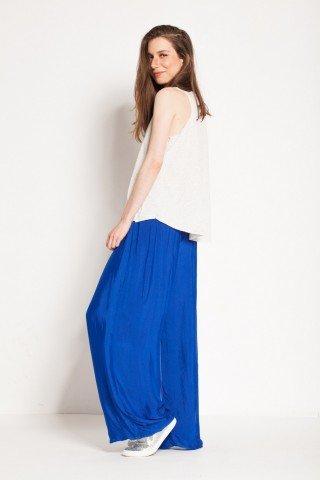 Pantalon albastru safir din matase