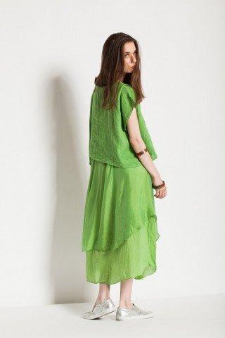 Rochie verde din matase cu bolero
