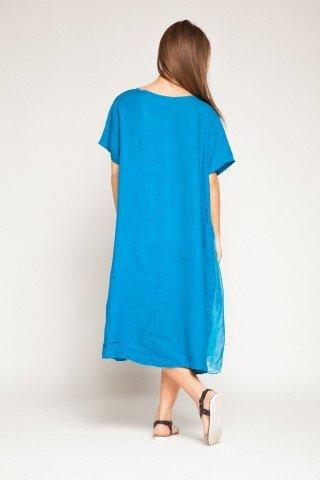 Rochie albastra din matase si in cu paiete