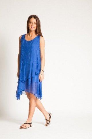 Rochie albastru safir midi din matase