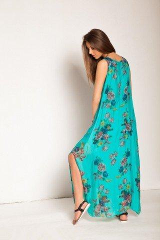 Rochie turcoaz lunga din matase cu imprimeu floral