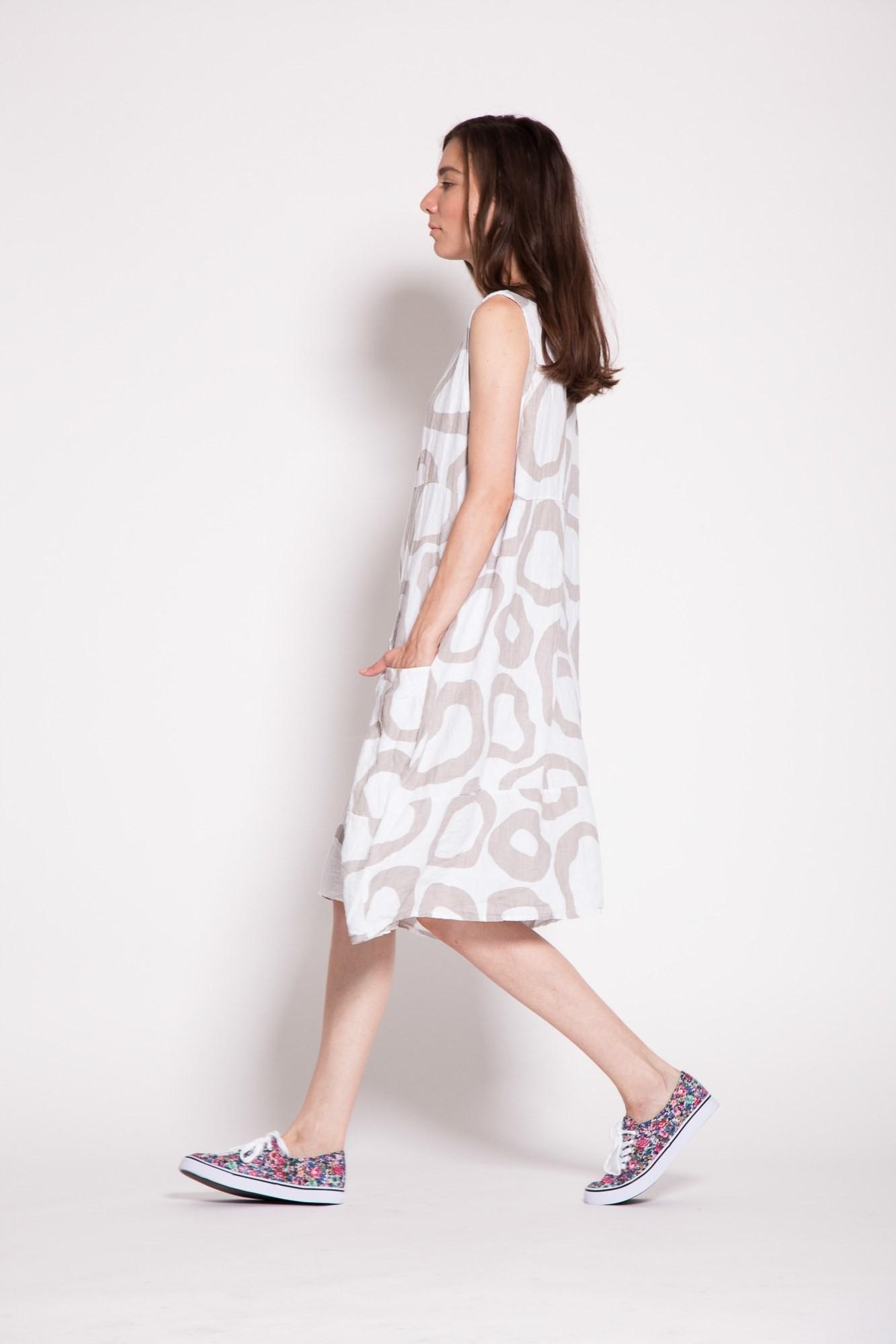 Rochie alba din in cu imprimeu cappucino