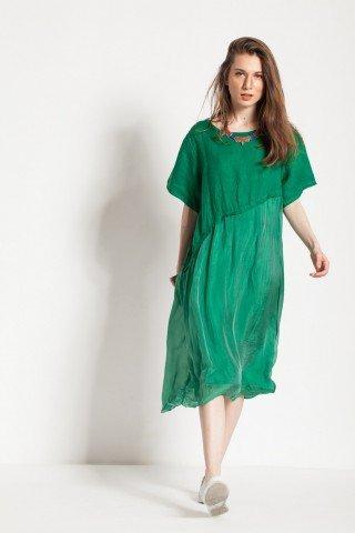 Rochie verde Taisa din matase si in