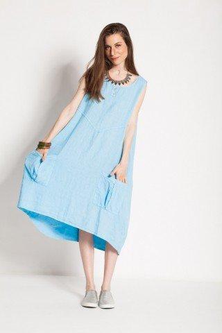 Rochie bleu Tan-Tan din in cu buzunare