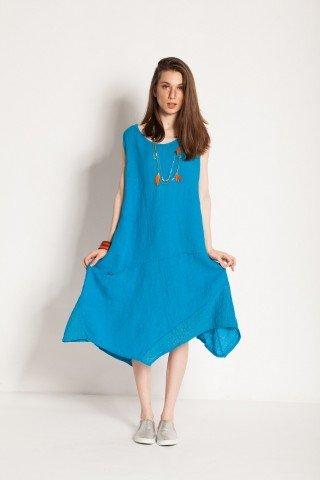 Rochie albastra Lorelai din in asimetrica