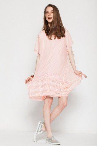Rochie roz pal din matase cu paiete si broderie