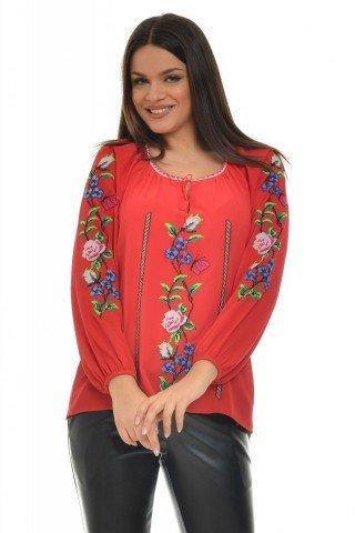 Ie Traditionala Romaneasca rosie brodata cu motiv floral