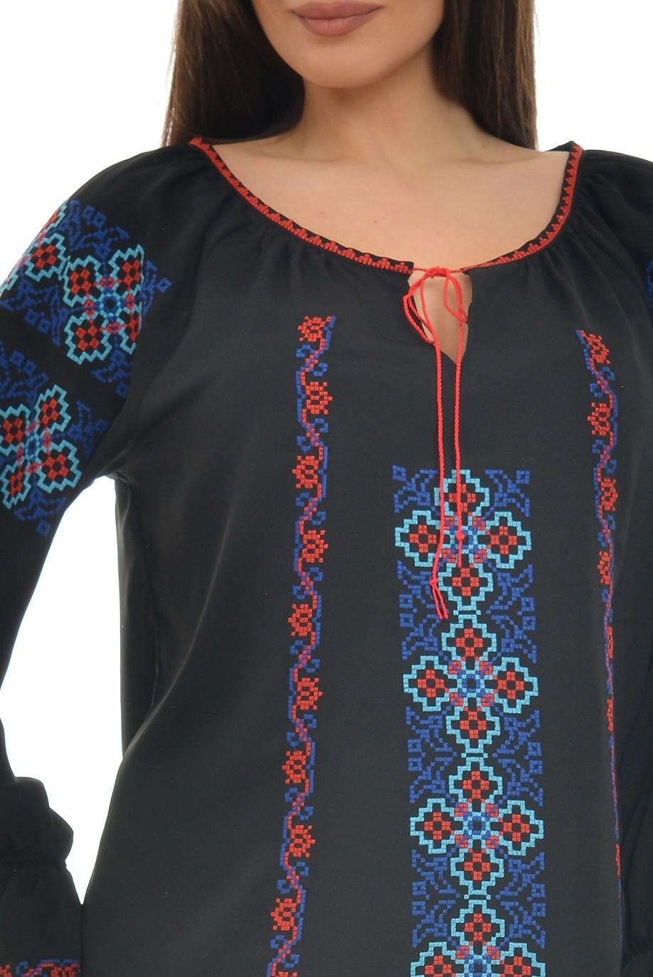 Ie Traditionala Romaneasca neagra brodata cu motive maramuresenesti
