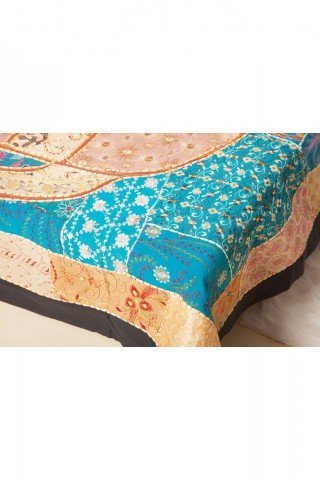 Cuvertura dubla bleu cu elefant lucrata manual din sariuri