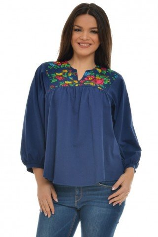 Bluza bleumarin cu platca cu flori