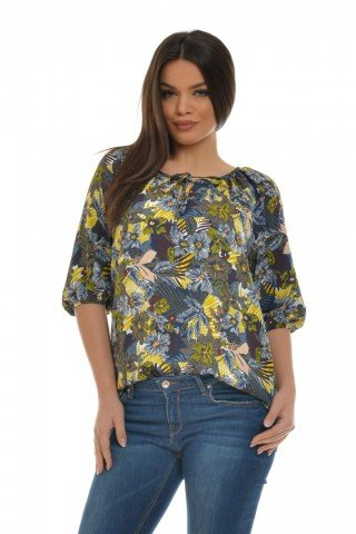 Bluza icu imprimeu floral maneci trei sferturi si snur