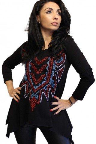 Bluza neagra cu colturi brodata multicolor